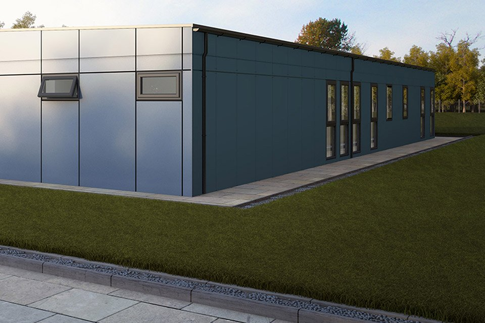 An external view of the modular building at Jane Lane School