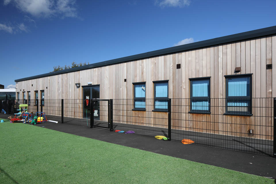 A modular classroom and play area at Edith Borthwick School