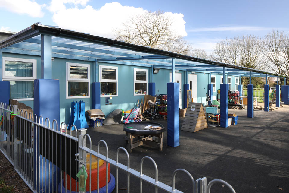 A modular classroom and play area at Stanway Primary School