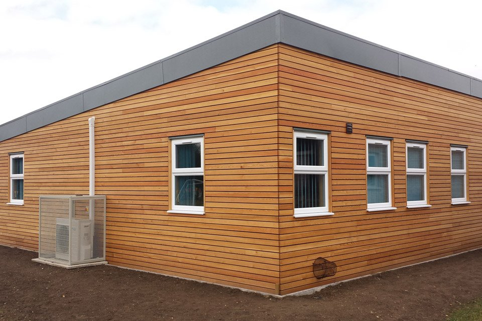 External view of a classroom at Flitch Green Primary School