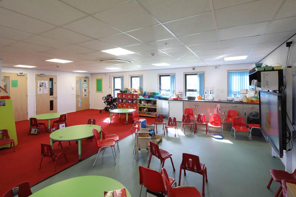 A modular classroom at Edith Borthwick School