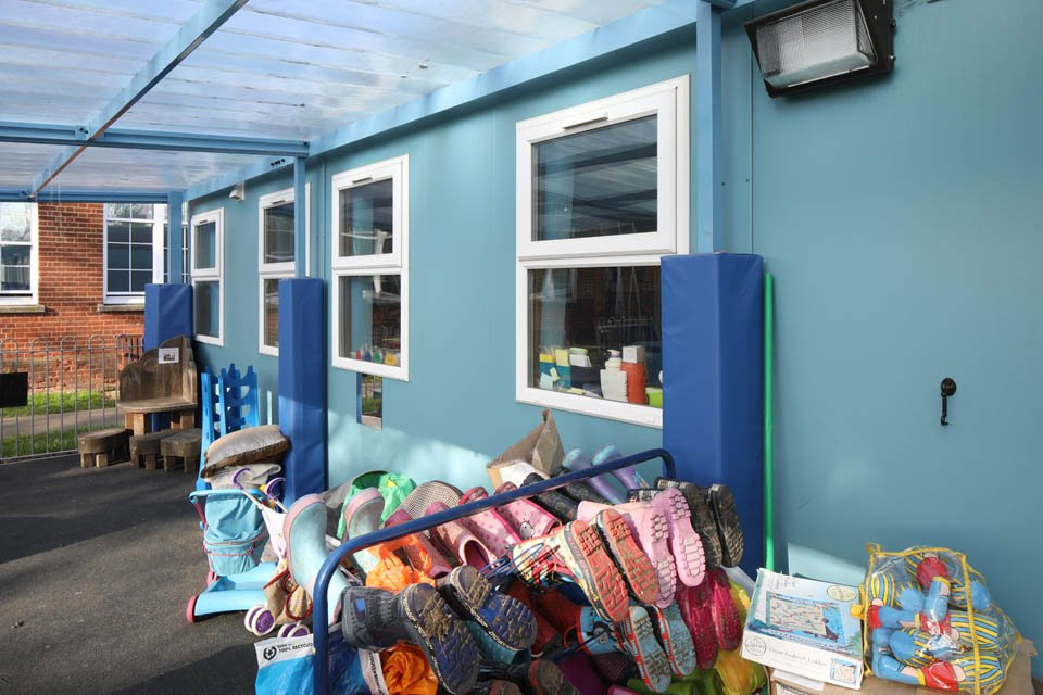 An external view of a modular classroom at Stanway Primary School