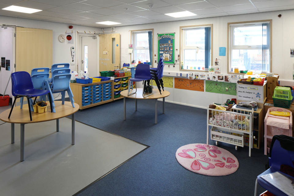 Internal view of a modular classroom at Stanway Primary School