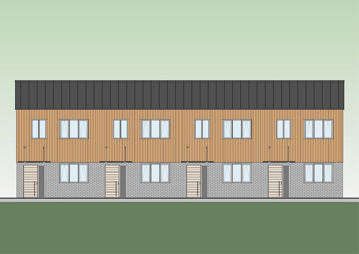 Modular housing - Terrace front elevation