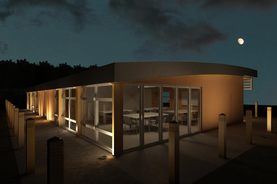 Side view of bespoke eco classrooms at night